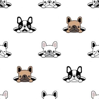 Hund nahtloses muster französisch bulldogge loch verstecken cartoon illustration