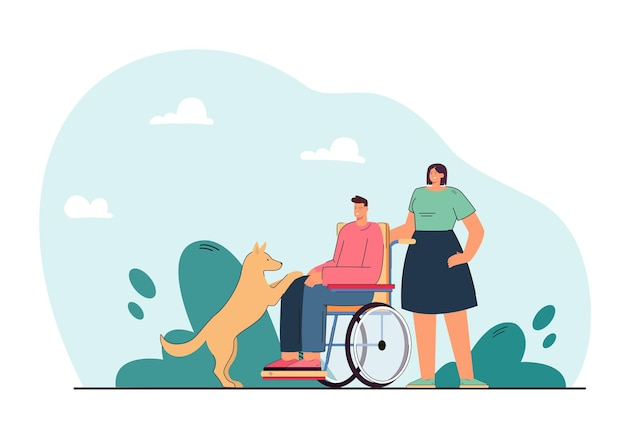 Hund neben behindertem mann im rollstuhl. frau, die behinderter person hilft, die mit flacher illustration des haustieres spielt