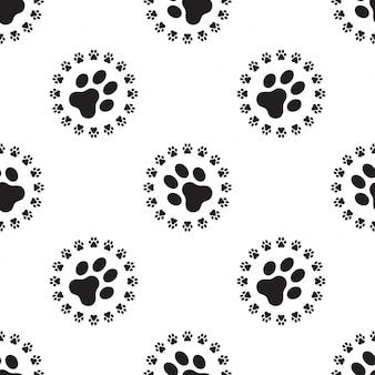 Hund paw seamless pattern-vektor isoliert