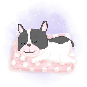 Hund schläft auf rosa matratze