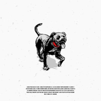 Hund skizze illustration logo premium