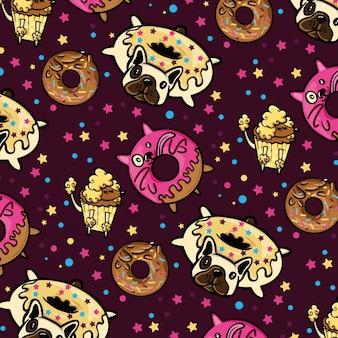 Hund und donut-muster