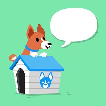 Hund und hundehütte der zeichentrickfilm-figur basenji mit spracheblase