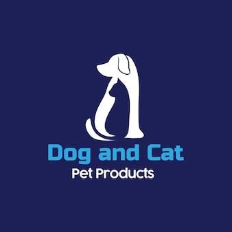 Hund und katze silhuette logo
