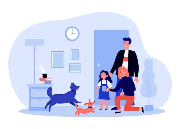 Hunde, die familie in der wohnungsillustration begrüßen