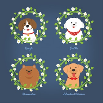 Hunde mit blumenrahmen