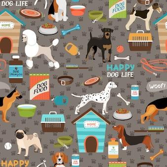 Hunde nahtloses muster mit ausrüstung
