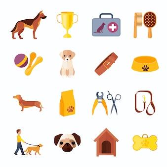 Hunde züchten flache ikonensammlung mit lokalisierter vektorillustration der veterinärausrüstung und des gewinnerspielzeugknochens zusammenfassung