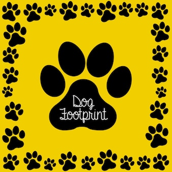 Hundeabdruck über gelber hintergrundvektorillustration