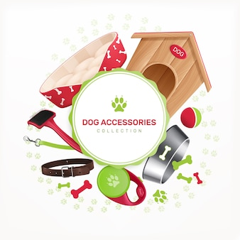 Hundeaccessoires dekorativer runder rahmen