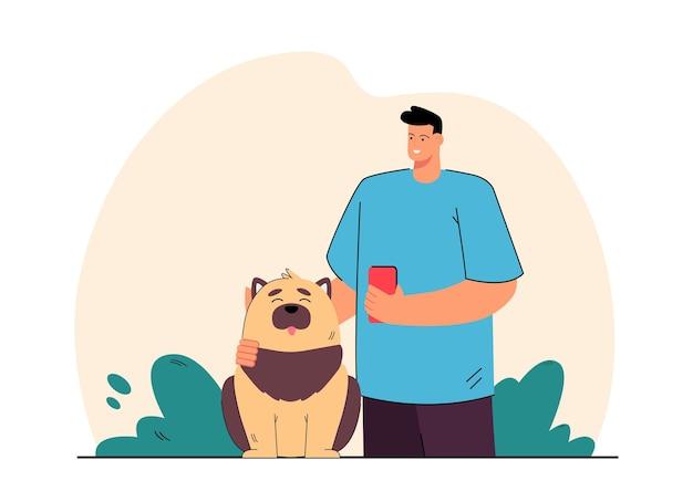 Hundebesitzer, der das fell des haustieres bürstet. glückliches haustiersitzen, männlicher charakter, der flache illustration der bürste lächelt und hält