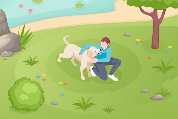 Hundehaustier und besitzer, die auf rasen im park spielen, isometrische illustration.