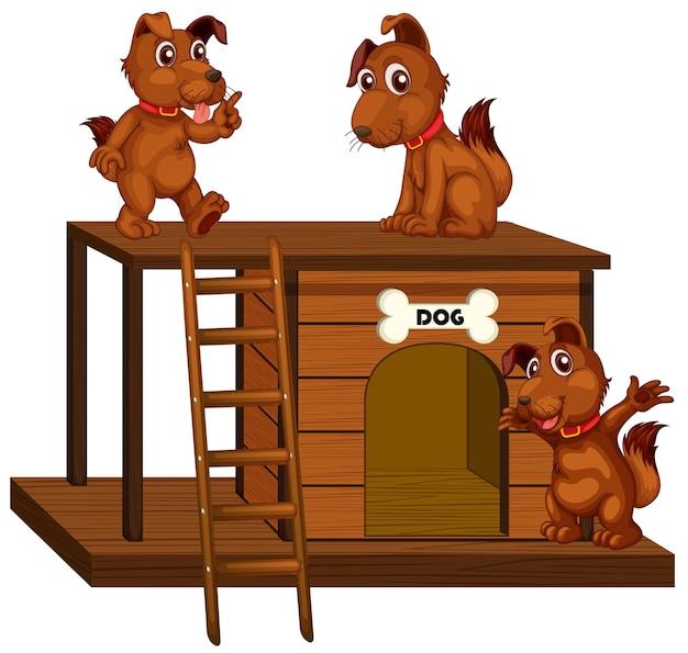 Hundehütte mit niedlichen hunden isoliert
