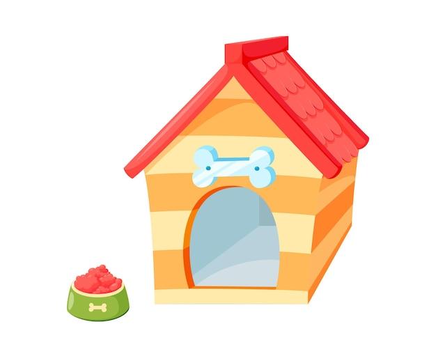 Hundehütte mit schüssel. hölzerne hundehütte mit rotem dach lokalisiert im weißen hintergrund. vektor-illustration im niedlichen cartoon-stil