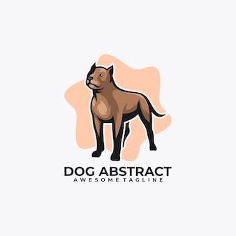 Hundekarikatur-logo-design-vektorillustration