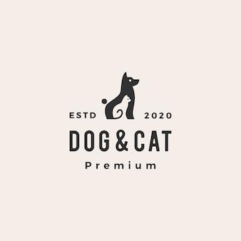 Hundekatze haustier hipster vintage logo symbol illustration
