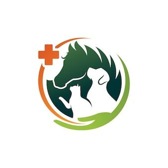 Hundekatze und pferd logo template veterinary