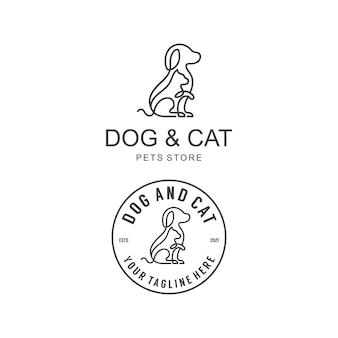 Hundekatzen-logo-design mit monoliner lineart-schablonen-vektorillustration