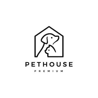 Hundekatzenhaustierhausausgangslogovektor-ikonenillustration
