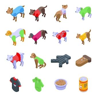 Hundekleidung icons set. isometrischer satz hundekleidungsvektorikonen für das webdesign lokalisiert auf weißem hintergrund