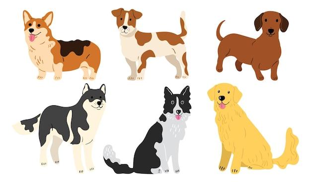 Hundekollektion im flachen stil