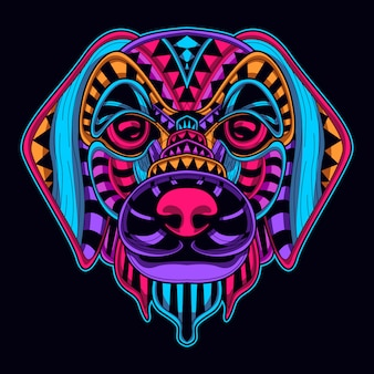 Hundekopf neon stil