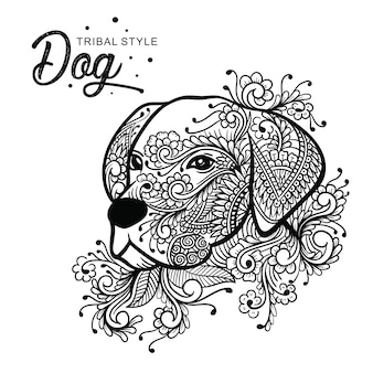 Hundekopf-stammes- art hand gezeichnet
