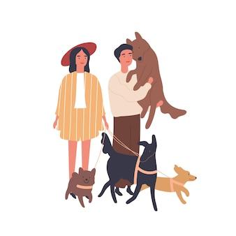 Hundeliebhaber paar flache vektor-illustration. junges mädchen und junge mit haustieren, glückliche familie. beziehung, liebe und freundlichkeit, familienidylle, tierpflegekonzept. verheiratete paar zeichentrickfiguren.