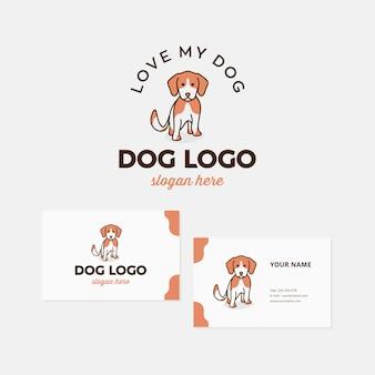 Hundelogo-designschablonenprämie mit visitenkarte.