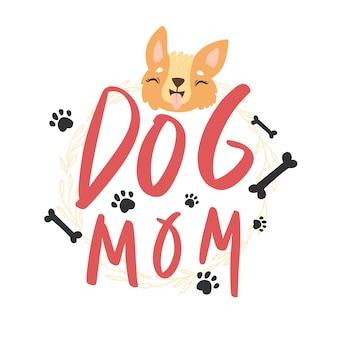 Hundemama-schriftzug mit süßem corgi