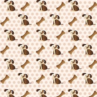 Hundemuster mit hund und knochen über punkthintergrund