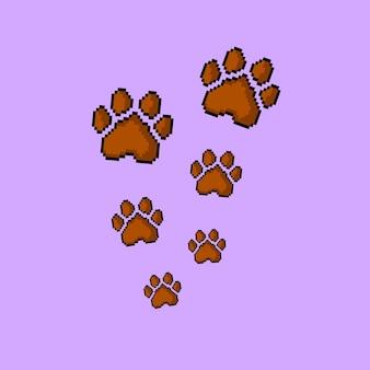 Hundepfoten mit pixel-art-stil