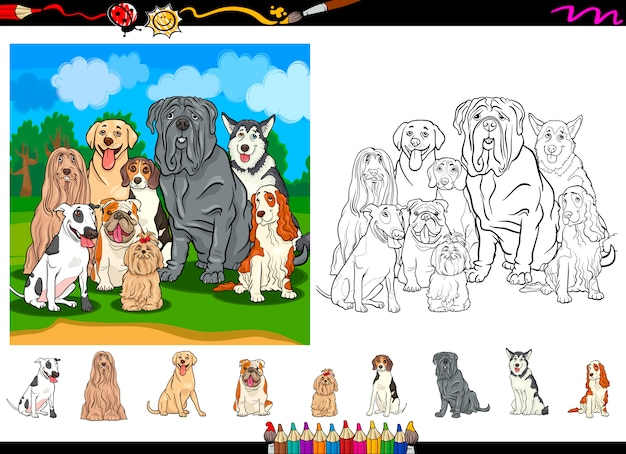 Hunderassen cartoon färbung seite festgelegt