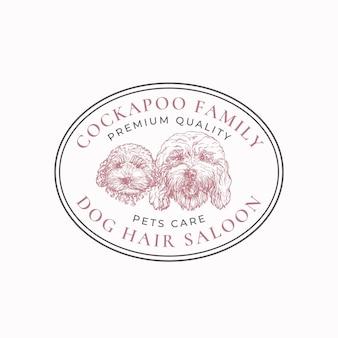 Hundesalon-rahmenabzeichen oder logo-vorlage handgezeichnete cockapoo-rasse-welpe und erwachsene gesichtsskizze w ...