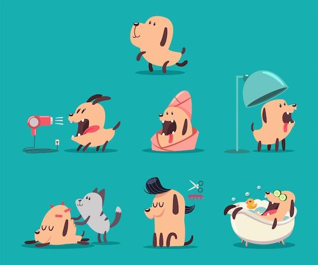 Hundeschönheitssalon. lustiger welpencharakter im badekurort