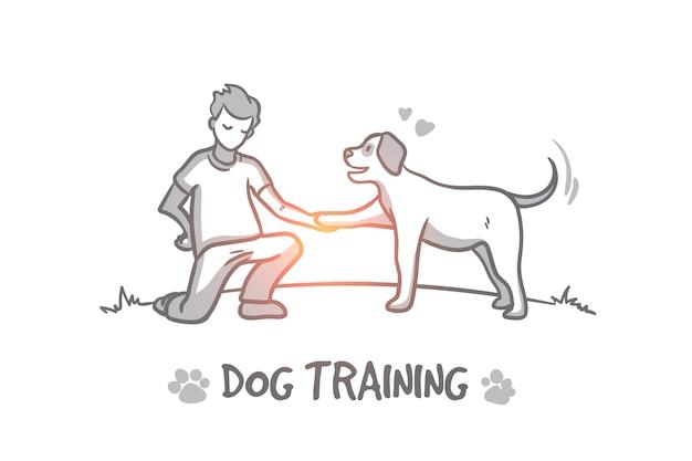 Hundetraining konzept. hand gezeichneter hundetraining im freien. ausbilder für tiere isolierte illustration.