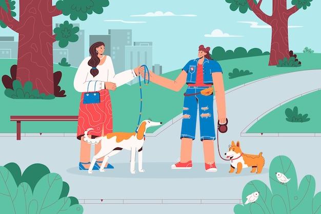 Hundewanderer bekommen hund vom besitzer