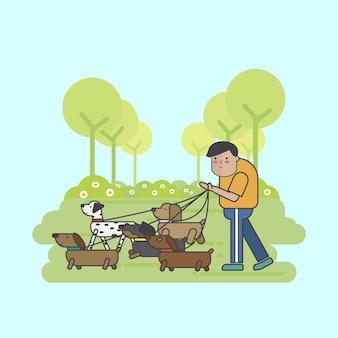 Hundewanderer, der ein paket hunde geht