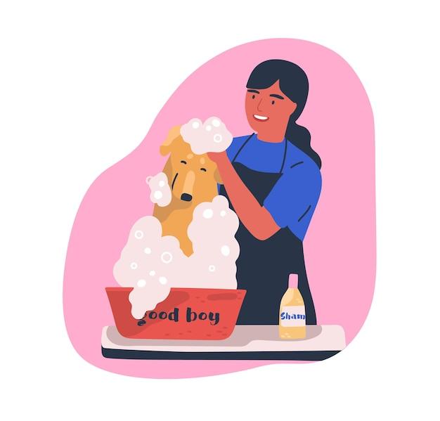 Hundewaschdienst flache illustration. friseur, der niedliche haustierkarikaturfigur shampooniert