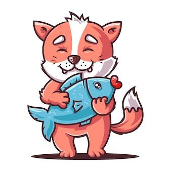 Hungrige katze hält einen großen fisch. fuchsangler.