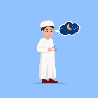 Hungrige kinder, die schnell in ramadan waiting iftar cartoon ausbilden
