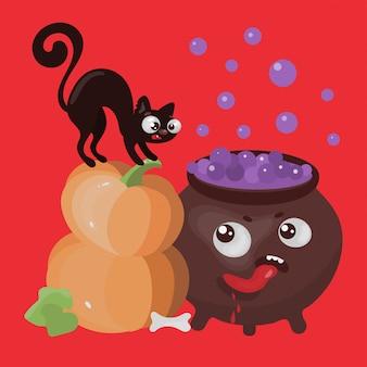 Hungriger cauldron halloween-karikatur-illustrationssatz