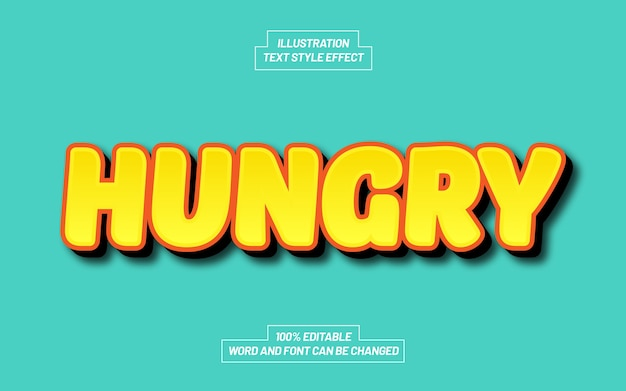 Hungriger comic-textstil-effekt