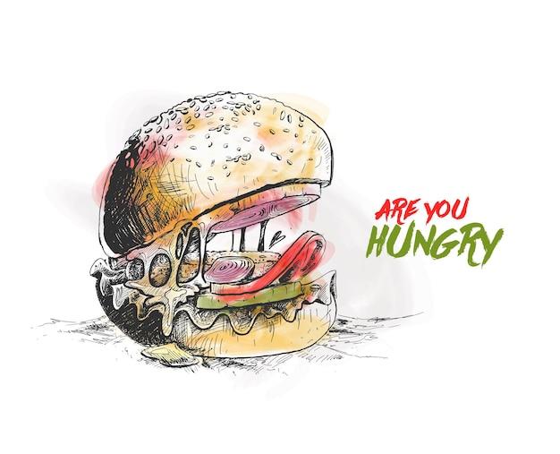 Hungriges burger-konzept hand gezeichnete skizze vektor-illustration