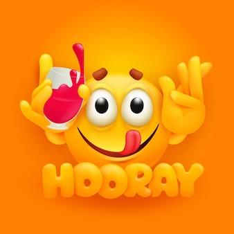 Hurra. niedliche emoji-zeichentrickfigur mit glas rotwein