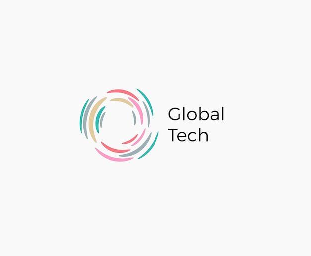 Hurrikan flach cartoon-stil vektor-logo-konzept globales netzwerk abstrakte isolierte symbol auf weiß
