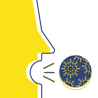 Husten mit virus illustration