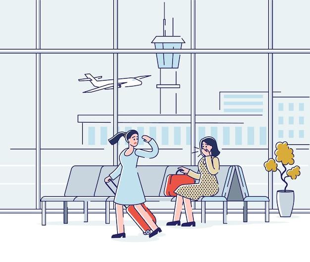 Hustende frau am flughafen, die während der koviden pandemie und der quarantäne keine maske trägt