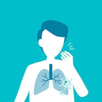 Hustender mann mit lungenschäden covid-19-bewusstsein