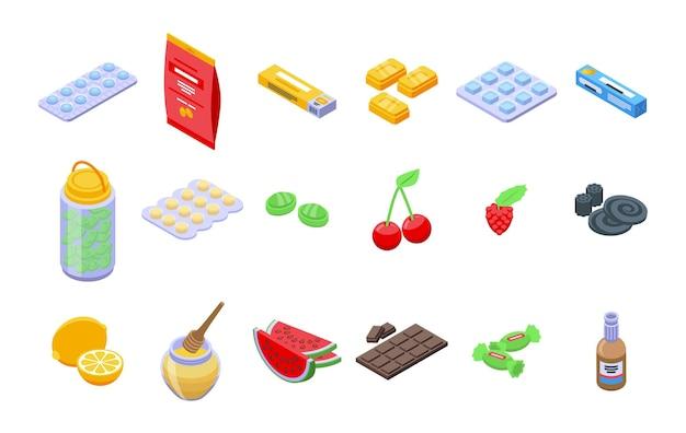 Hustentropfen icons set. isometrischer satz hustentropfen-vektorikonen für das webdesign lokalisiert auf weißem hintergrund